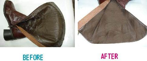 ブーツの内側ヒビ割れの修復