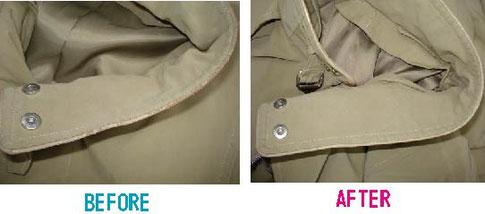 コートのエリ縁取りコーティング修復