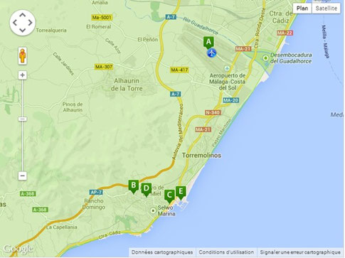 Carte Espagne Benalmadena.Transport Appartcostadelsol