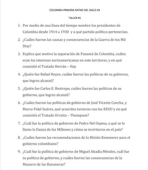 TALLER #1 COLOMBIA PRIMERA MITAD DEL SIGLO XX
