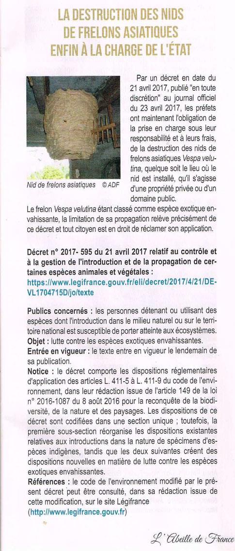 article de la revue Abeille de France - Novembre 2017