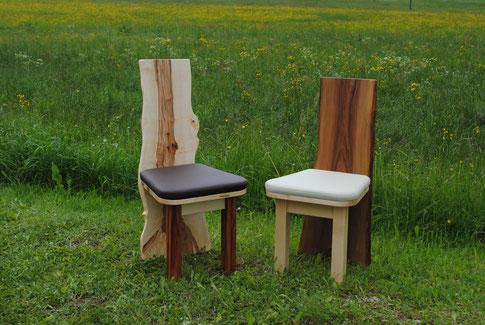 Designer Stuhl Kernahorn und Wildnuss