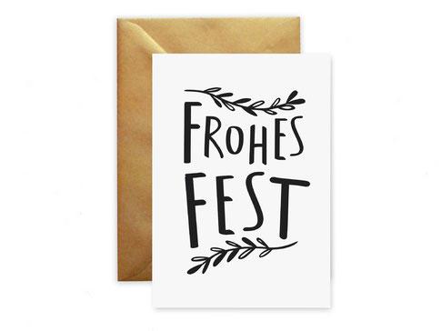 """Weihnachtskarte """"Frohes Fest"""" von studio vanhart – www.studiovanhart.de"""