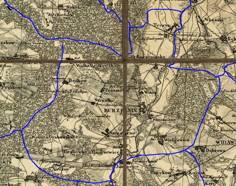 Przypuszczalny zasięg par. Burzenin w latach 1839-1841