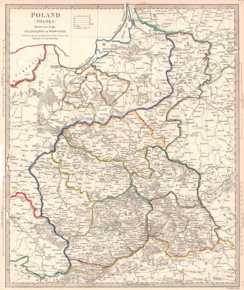 Brytyjska mapa Królestwa Polskiego z podziałem na województwa, 1831 r. Źródło: polona.pl