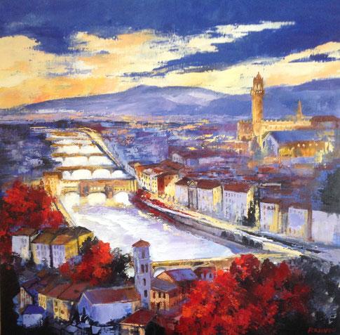 Les ponts de Florence 90 x 90 cm