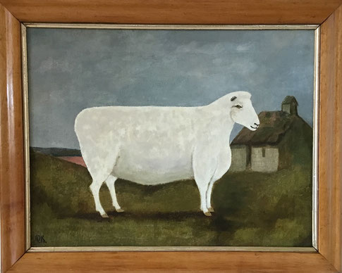 Naive folk art portrait of a sheep in a landscape