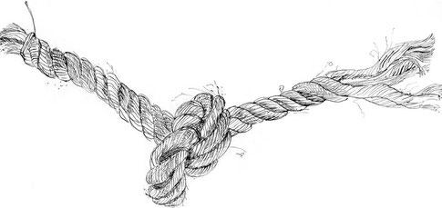 Zeichnung schwarz-weiß eines verknoteten Seils