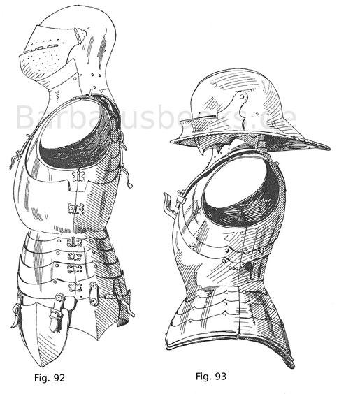 Fassbrust, geschoben mit Bauchreifen und Beintaschen. Italienisch um 1450. 93 Gotische Brust geschoben, mit Bauchreifen, Ansteckbart und Schallern. Deutsch um 1480.