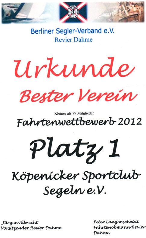 Ergebnis Fahrtenwettbewerb 2012