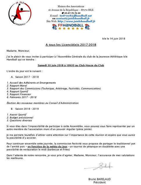 Convocation à l'Assemblée Générale 2018 de la JA Isle Handball