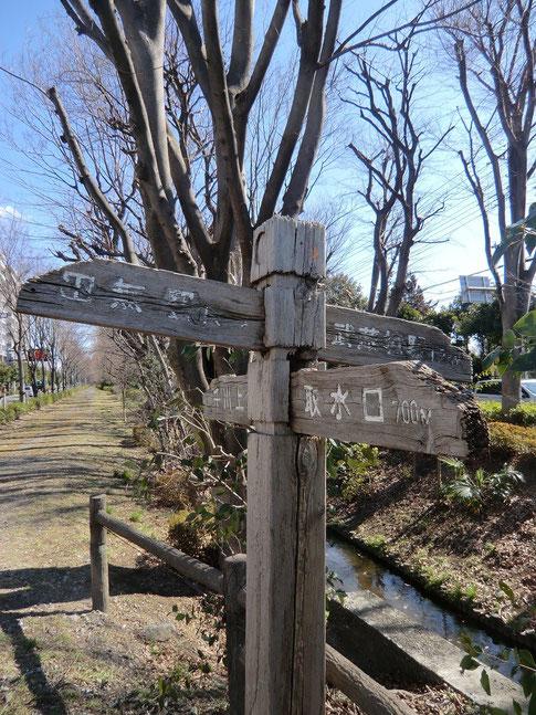 3月10日(2014) 古い道標:玉川上水から千川上水が分かれていく境橋の近くにあった朽ちかけた道標