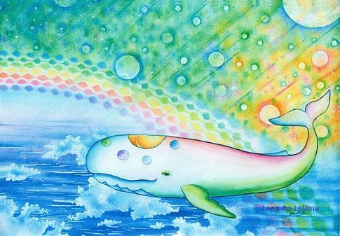 にじいろくじらバス(2009制作・水彩画)てじまともこ