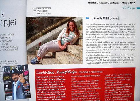 Aniko Kapros in RIDIKÜLmagazin, Budapest, March 2014