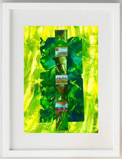 35/ PAOLA KORGA, Omaggio agli alberi 1, 2020, Collage, acrilici, pastelli, 20 x 30