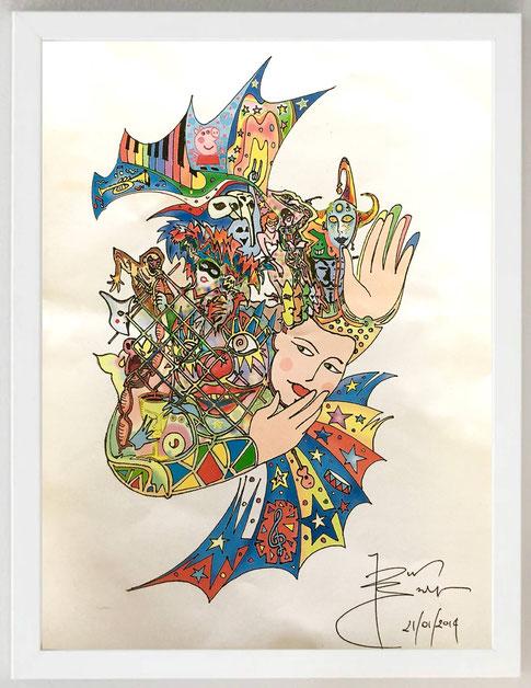 """36 / DINO BASILE, """"GIÙ LA MASCHERA"""", Inchiostro su cartoncino con stampa digitale, 23 x 35"""