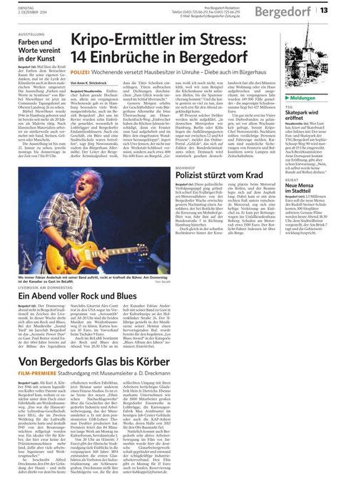 Bergedorfer Zeitung erschienen am 2 12.2014.