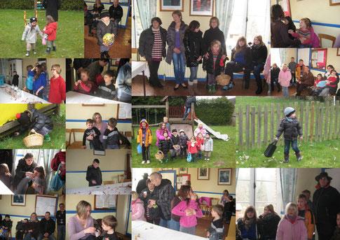 Les enfants d'Aunay et quelques amis se sont retrouvés au chaud dans la salle de la Mairie pour écouter une légende de Pâques avant de partir chaudement couverts à la chasse aux oeufs