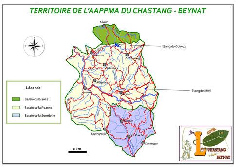 Carte du territoire de l'AAPPMA du Chastang Beynat
