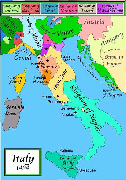 1494年頃のイタリア半島の政治地図