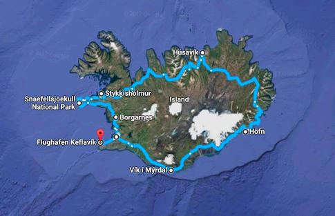 Karte von Island mit der Route