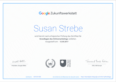 Google, Zertifizierung, Online Marketing