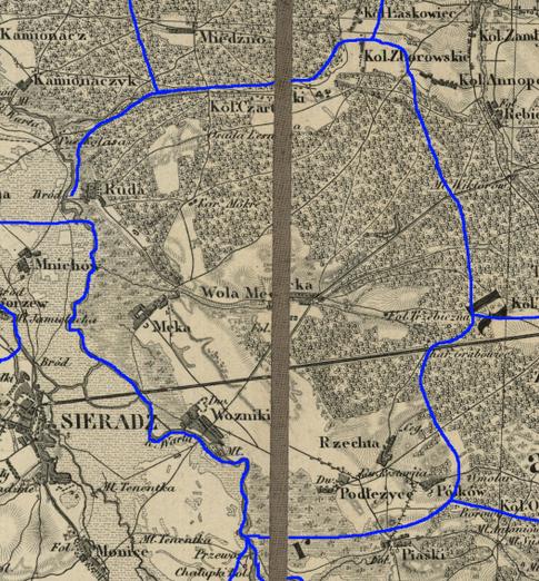 Przypuszczalny zasięg par. Męka w latach 1839-1841.