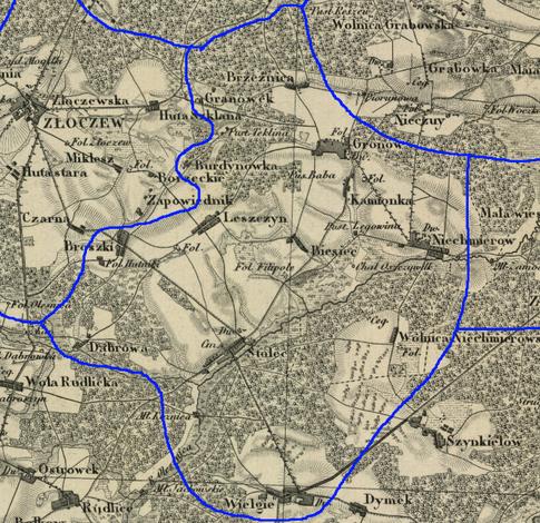 Przypuszczalny zasięg par. Stolec w latach 1839-1841