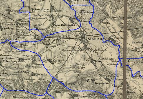 Przypuszczalny zasięg par. Sieradz w latach 1839-1841