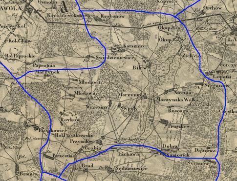 Przypuszczalny zasięg par. Marzenin w latach 1839-1841