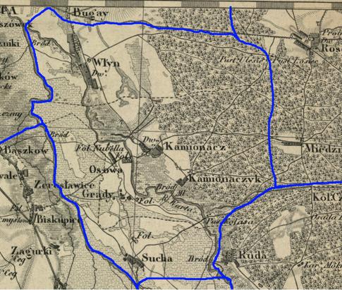 Przypuszczalny zasięg par. w Kamionaczu w latach 1839-1841.