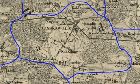 Przypuszczalny zasięg par. Zduńska Wola w latach 1839-1841