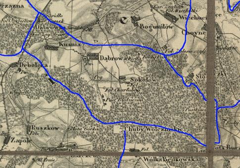 Przypuszczalny zasięg par. Dąbrowa Wielka w latach 1839-1841.