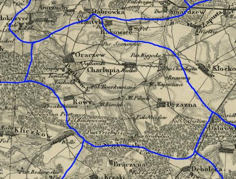 Przypuszczalny zasięg par. Charłupia Wielka w latach 1839-1841