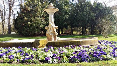 Brunnen mit Blumen im Ringpark Würzburg