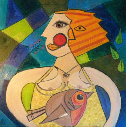 27.Robin meets Picasso 60x60 cm. Ingestuurd wedstrijd Jeroen Krabbé zoekt Picasso.