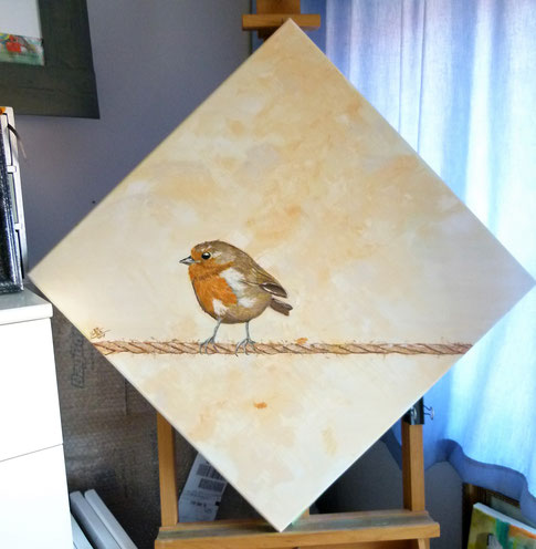 32.Robin on sisal rope 60x60 cm