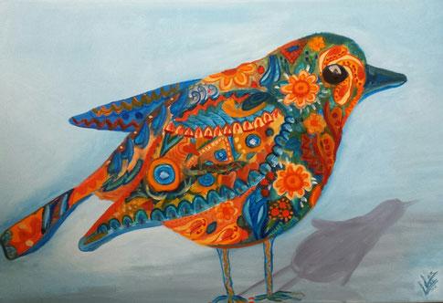 16.Multi-color robin 40x60 cm verkocht