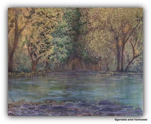 Waldgemälde mit See, Wasserwege Ölgemälde 50 x 40cm