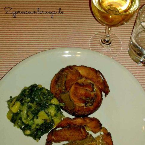 Porcchetta (mit Grünkohl) und dazu ein Verdicchio di Matelica