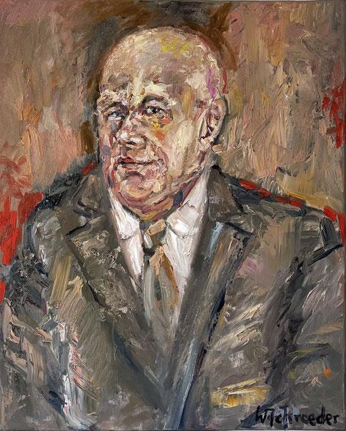 Franz Homoet - Ölbild von seinem Schüler Wilfried Schroeder, genannt Schrolli. Besitz Henning Stoffers