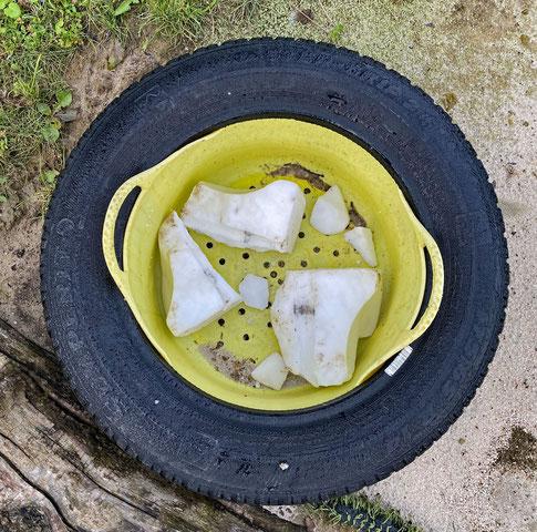 Angebot auf dem Trailweg: zerbrochene Salzlecksteine