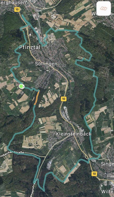 Die heutige Strecke: 21 km.