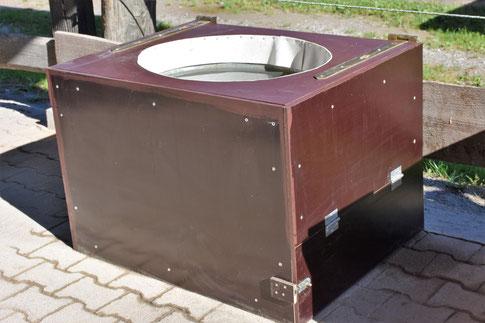 Unsere neue Wasser-eisfrei-Zinkwannen-Holzkiste :-)
