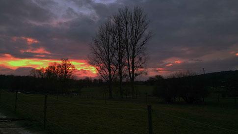 Sonnenuntergang am Stall