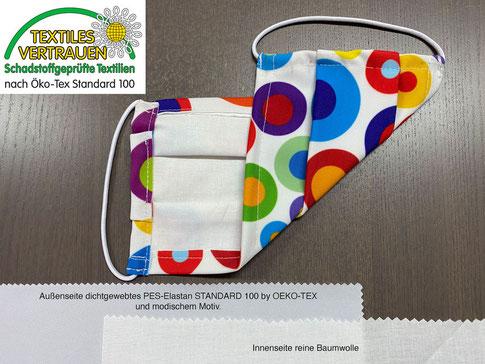 Behelfs-Mundschutz, MNS-Maske, Mund-Nasen-Maske mit eigenem Logo oder Muster antibakteriell von Feld Textil GmbH in Krefeld - www.krawatten-tuecher-schals-werbetextilien.de