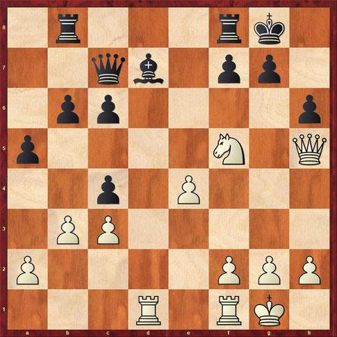 Aufgabe: Mit welcher Zugfolge wird Weiß die Partie gewinnen?