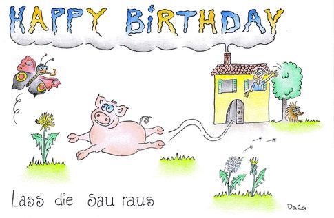 Geburtstagskarte Lass die Sau raus