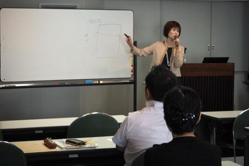 ホワイドボードで解説する、当事務所代表の高島あゆみ