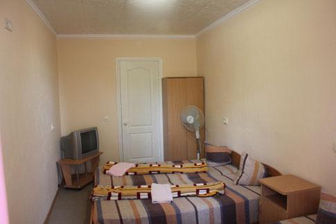 В номере: полуторные кровати, тумбочка, вентилятор, холодильник, телевизор. Туалет, умывальник, душ - в номере.